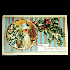 German Christmas Postcard ~ Early Santa Claus, Blue & Gold Striped Background