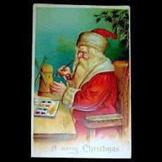 Classic German Christmas Postcard ~ Santa Claus Painting Toys