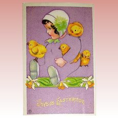 "Easter Puzzle Postcard by Stecher ~ ""Disappearing Baby"" Theme"