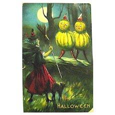 Valentine & Sons Rare Halloween Postcard- Witch, Goblins, Black Cat