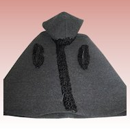 Beautiful Vintage Gray Wool Cape w Black Lambswool Trim - For a Large Doll