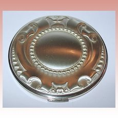 Volupte Sterling Silver Art Deco Designed Large Compact ~ UNUSED