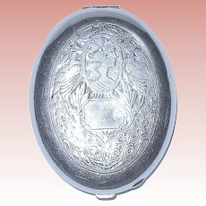 Art Nouveau Compact by Fitch ~ Classical Maiden and Peacocks