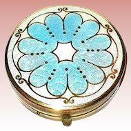 Vintage Gold Tone Compact w Tri-Colored Guilloche Enamel Lid