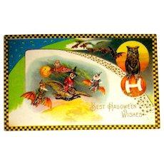Rare Winsch Schmucker Halloween Postcard - Witch, Owl, Gnome, Clown, Bats
