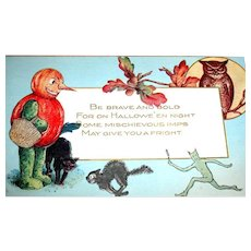 Unused Schmucker Designed Halloween Postcard ~ JOL Man, Imp, Cat, Owl