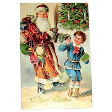 1908 German International Christmas Postcard ~ Santa Claus w Switches Chases Boy