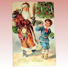 1908 German International Christmas Postcard ~ Santa Claus w Switches Chases Boy