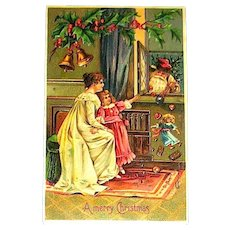 Unused Christmas Postcard ~ Santa Claus Dropping Gifts Through a Window