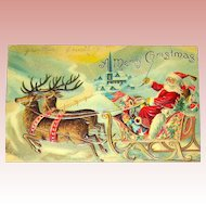 1908 Christmas Postcard ~ Santa Claus, Reindeer, Toys, Town