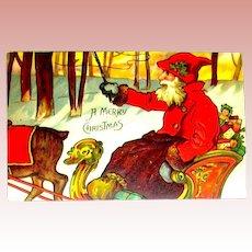 1904 German Christmas Postcard ~ Santa Claus, Sleigh, Reindeer