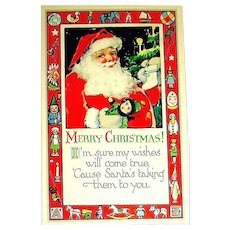 Gibson Art Company Santa Claus Postcard w Border of Toys