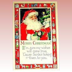 Gibson Art Company Santa Claus Postcard w Border of Toys
