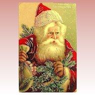 """""""Frohliche Weihnachten"""" Santa Claus GEL Postcard ~ Rare ~ Heavy Gold"""