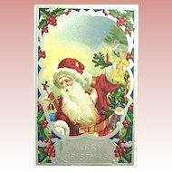 German Santa Claus Postcard ~ Vivid Colors, Glossy Silver