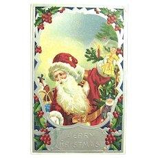 German Santa Claus Postcard ~ Vivid Colors, Glossy Silver