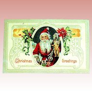 Glossy Embossed Christmas Postcard ~  Santa Claus w Early German Teddy Bear