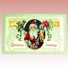 Glossy Embossed Christmas Postcard ~  Santa Claus w Early German Teddy Bear