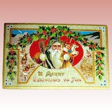 Beautiful Saxony Printed Santa Claus Postcard