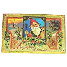 Embossed Colorful Santa Claus Postcard ~ Saxony