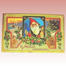 Embossed Colorful Santa Claus Postcard ~ Saxony