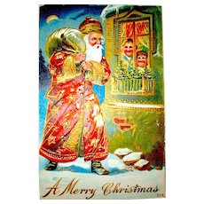1911 Christmas Postcard ~ Santa Claus, Gild Decorated Gown, Happy Children