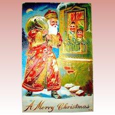 1911 Christmas Postcard ~ Santa Claus, Gild Decorated Gown, Happy Children