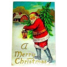 1906 Robbins Christmas Postcard ~ Santa Claus Hurries Along with a Christmas Tree