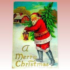 1906 Robbins Christmas Postcard ~ Santa Claus Hurries Along with a Christmas Tree