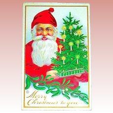 Stecher Christmas Postcard ~ Smiling Santa Claus, Candlelit Christmas Tree, Mistletoe