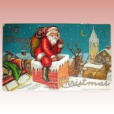 1907 Robbins Christmas Postcard - Santa Claus, Roof, Reindeer