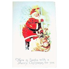 Gibson Art Co. Santa Claus Postcard ~ Delivers Toys in Blizzard