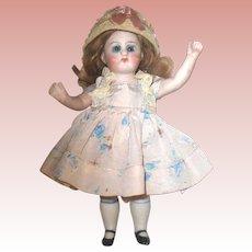 "Pretty German All Bisque 6 1/2"" Doll ~ Orig. Mohair Wig, Cute Costume & Bonnet"