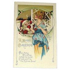 Rare Kathryn Elliott Santa Claus & Glamorous Lady Christmas Postcard