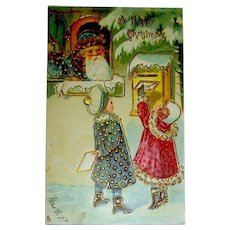 Tuck 1906 Christmas Postcard ~ Santa Watches Children Mail Letters to Him