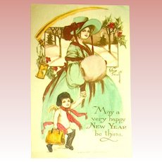 Gibson Hand Colored New Year's Postcard ~ Kathryn Elliott ~ Glamor Lady & Cherub