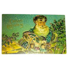 Gorgeous Santa Claus in Auto Postcard ~ HEAVY Gold & Colorful Toys
