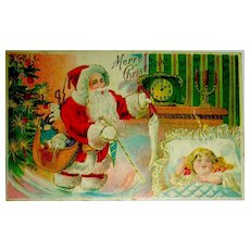 Santa Claus Postcard ~ Fills Stockings While Child is Fast Asleep