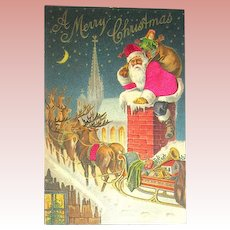 Early Undivided Back Postcard ~ Silk Santa Claus w Reindeer on Rooftop