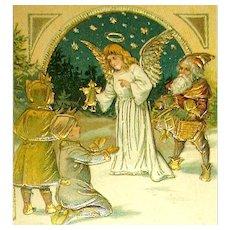 Unique Christmas 1908 Postcard ~ Angel, Children & Early Gnome Santa Claus