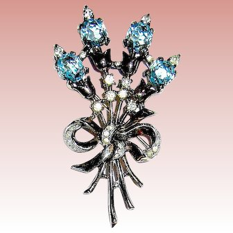 Gorgeous 1948 Crown Trifari Patent Pending Sterling Brooch - A/O & Perfect