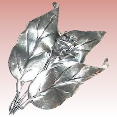 "Beautiful Sterling CoroCraft 4 1/2"" Floral & Foliage Brooch"