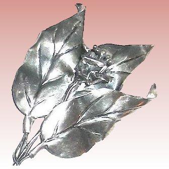 "Beautiful Sterling CoroCraft 4 1/2"" Floral & Foliage Brooch"