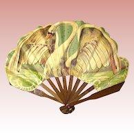 Antique French Fashion Doll Fan ~ Swan Motif ~ Paris ~  Exceptional