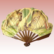 Antique French Fashion Doll Fan ~ Swan Motif ~ Paris ~  Exceptional