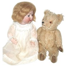 "Adorable 11"" Vintage German Blonde Mohair Teddy Bear"