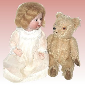 "Adorable 11"" Vintage German Blonde Mohair Teddy Bear"