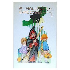 Whitney Halloween Postcard - Girls, Boy, Black Cat ~ MINT
