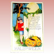 Unused Whitney Halloween Postcard - Young Lad Makes a Wish