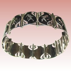 Gorgeous Siam Sterling Bracelet w Goddess Decorated Links